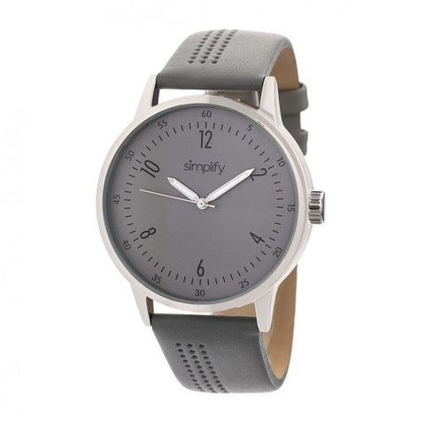 Simplify The 5700 Leather-Band Watch - Grey SIM5703