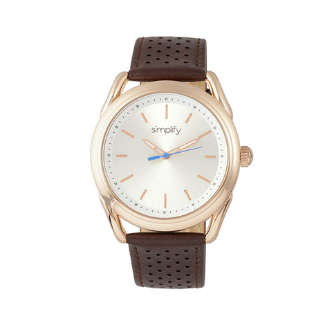 Simplify The 5900 Leather-Band Watch - Rose Gold/Brown SIM5904