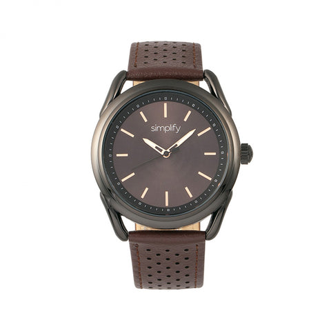 Simplify The 5900 Leather-Band Watch - Black/Brown SIM5905