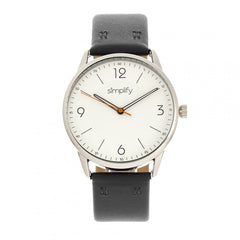Simplify The 6300 Leather-Band Watch - Black/White