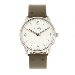 Simplify The 6300 Leather-Band Watch - Olive/White