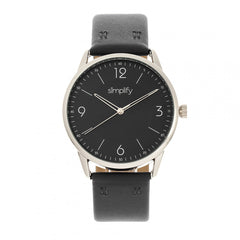 Simplify The 6300 Leather-Band Watch - Black