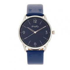 Simplify The 6300 Leather-Band Watch - Blue