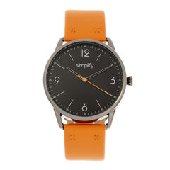 Simplify The 6300 Leather-Band Watch - Orange/Black