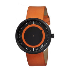 Simplify The 700 Leather-Band Unisex Watch - Orange/Black