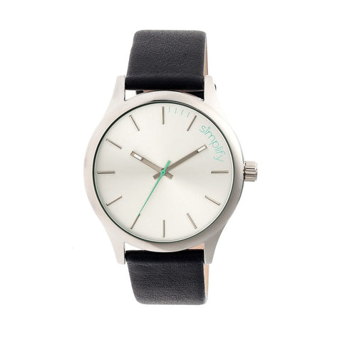 Simplify The 2400 Leather-Band Unisex Watch - Silver SIM2401