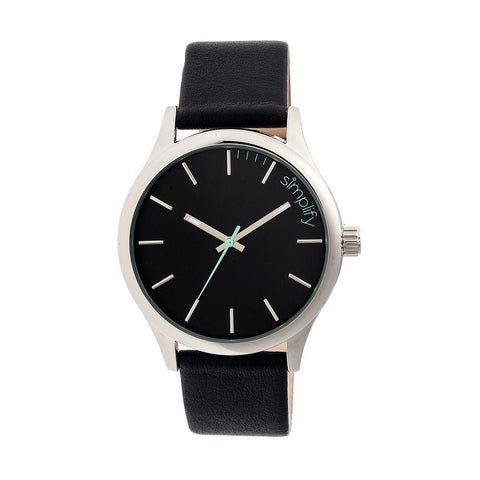 Simplify The 2400 Leather-Band Unisex Watch - Silver/Black SIM2402