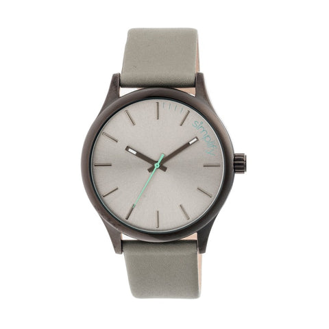 Simplify The 2400 Leather-Band Unisex Watch - Black/Grey SIM2403