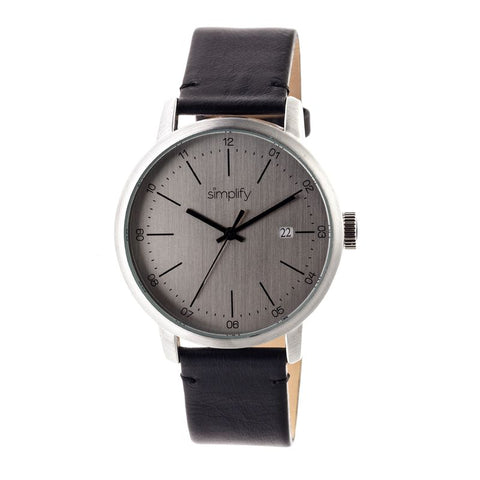 Simplify The 2500 Leather-Band Men's Watch w/ Date - Silver SIM2501