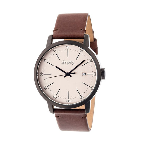 Simplify The 2500 Leather-Band Men's Watch w/ Date - Brown SIM2504