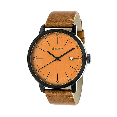 Simplify The 2500 Leather-Band Men's Watch w/ Date - Orange SIM2506