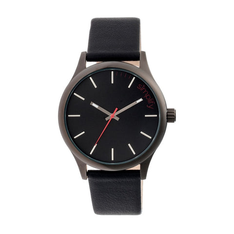 Simplify The 2400 Leather-Band Unisex Watch - Black SIM2404