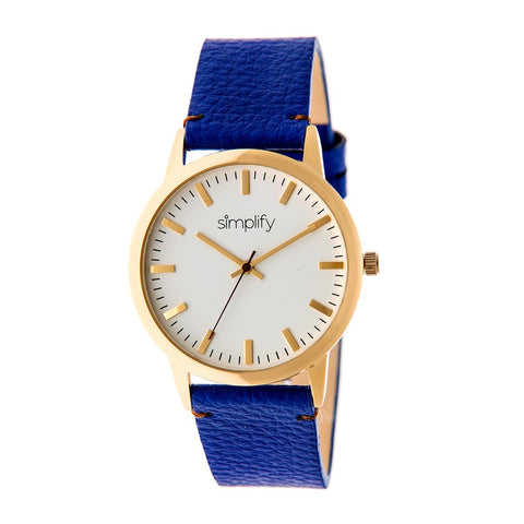 Simplify The 2800 Leather-Band Watch - Gold/Blue SIM2804