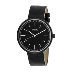 Simplify The 3000 Leather-Band Watch - Black