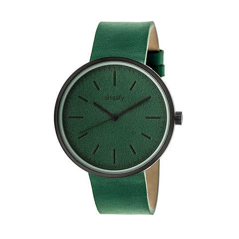 Simplify The 3000 Leather-Band Watch - Green SIM3004