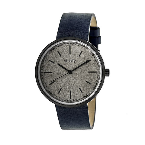 Simplify The 3000 Leather-Band Watch - Navy SIM3005