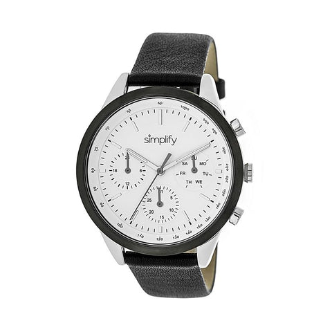 Simplify The 3800 Leather-Band Watch w/ Day/Date - Silver/White SIM3801