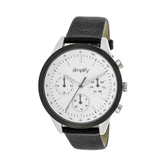 Simplify The 3800 Leather-Band Watch w/ Day/Date - Silver/White