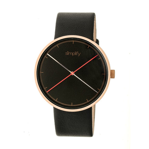 Simplify The 4100 Leather-Band Watch - Rose Gold/Black SIM4106