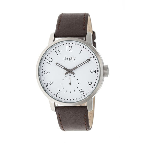 Simplify The 3400 Leather-Band Watch - Silver/Dark Brown SIM3401