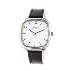 Simplify The 3500 Leather-Band Watch - Silver/Black