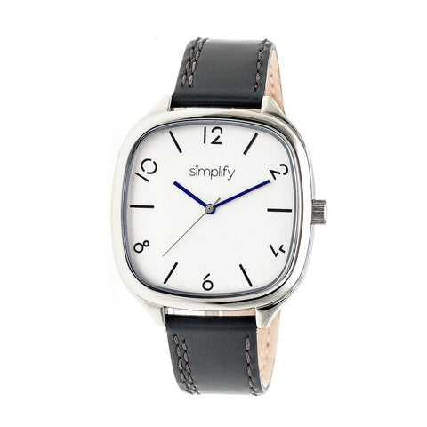 Simplify The 3500 Leather-Band Watch - Silver/Charcoal SIM3502