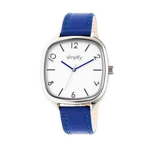 Simplify The 3500 Leather-Band Watch - Silver/Blue SIM3503