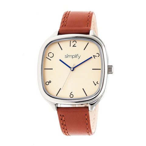 Simplify The 3500 Leather-Band Watch - Silver/Camel SIM3505