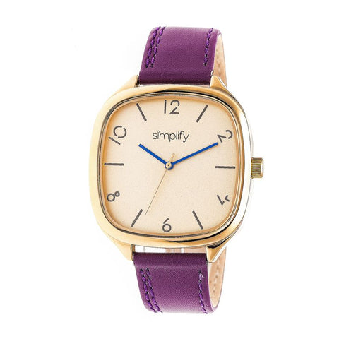Simplify The 3500 Leather-Band Watch - Gold/Plum SIM3507