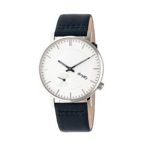 Simplify The 3600 Leather-Band Watch - Silver/Navy SIM3601