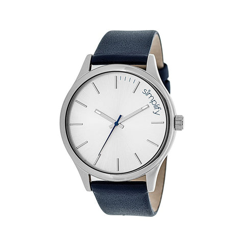 Simplify The 2400 Leather-Band Unisex Watch - Silver/Navy SIM2406