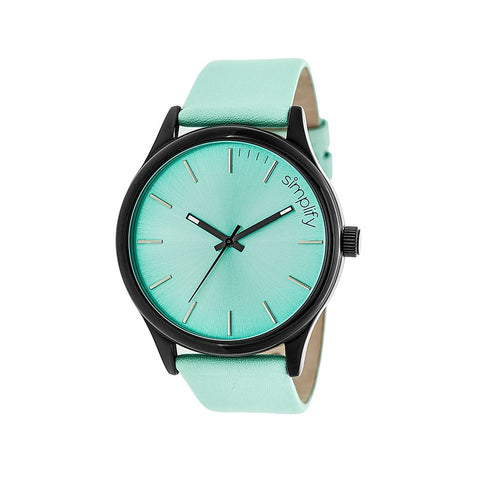 Simplify The 2400 Leather-Band Unisex Watch - Black/Seafoam SIM2407