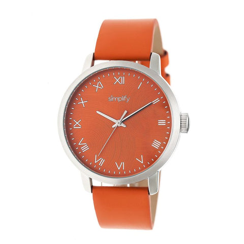 Simplify The 4200 Leather-Band Watch - Orange SIM4203