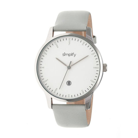 Simplify The 4300 Leather-Band Watch w/Date - Silver/White SIM4303