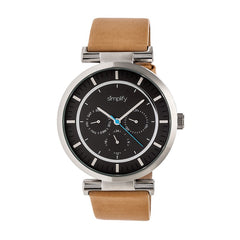 Simplify The 4800 Leather-Band Watch w/Day/Date - Khaki/Black