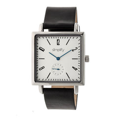 Simplify The 5000 Leather-Band Watch - Black/White