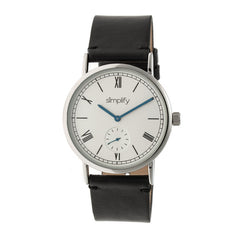 Simplify The 5100 Leather-Band Watch - Black/White