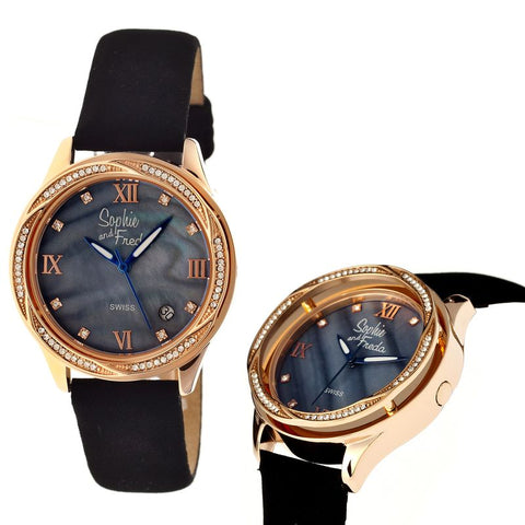 Sophie & Freda Los Angeles Swiss Ladies Watch - Rose Gold/Black SAFSF2006