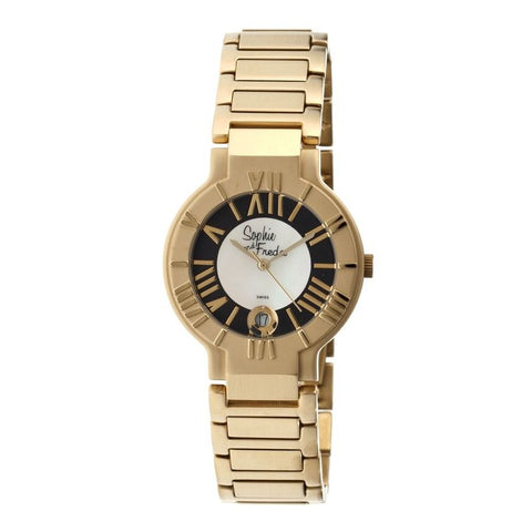 Sophie & Freda Rushmore MOP Ladies Bracelet Watch - Gold/Black SAFSF1207