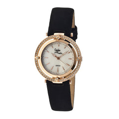 Sophie & Freda Tuscany Leather-Band Ladies Watch - Rose Gold/White