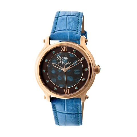 Sophie & Freda Siena Leather-Band Ladies Watch - Rose Gold/Cerulean SAFSF2608