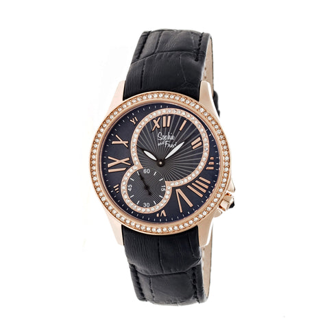 Sophie & Freda Toronto Leather-Band Ladies Watch - Rose Gold/Black SAFSF2805