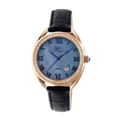 Sophie & Freda Austin MOP Swiss Ladies Watch - Rose Gold/Black