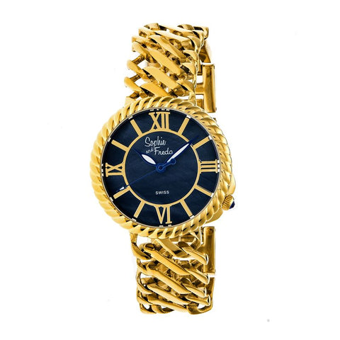 Sophie and Freda Charleston Mother-of-Pearl Swiss Bracelet Watch - Gold/Black SAFSF3103
