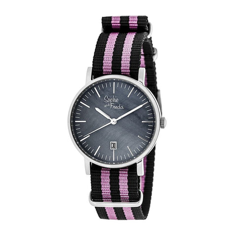 Sophie & Freda Nantucket Nylon-Band Ladies Watch - Silver/Pink SAFSF3302