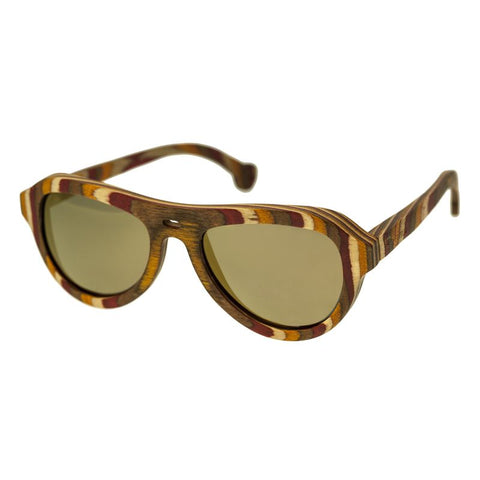 Spectrum Fanning Wood Polarized Sunglasses - Multi/Gold SSGS114GD