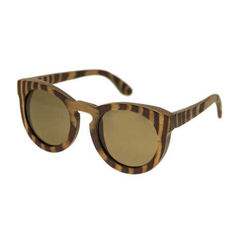Spectrum Dorian Wood Polarized Sunglasses - Cherry Zebra/Brown SSGS128BN