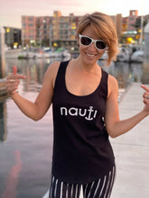 """NAUTI"" Ladies' Adult Anchor Design Racerback Tank in Black, White or Heather Grey"