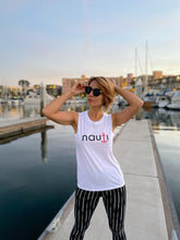 """NAUTI"" Anchor Ladies' Sleeveless Loose T-shirt Tank in Pale Pink, Black, White or Heather Grey"