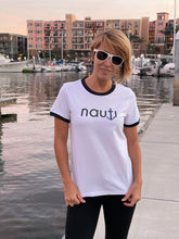 """NAUTI"" Anchor Ladies' Adult t-shirt in White with Red or Navy Ribbing"